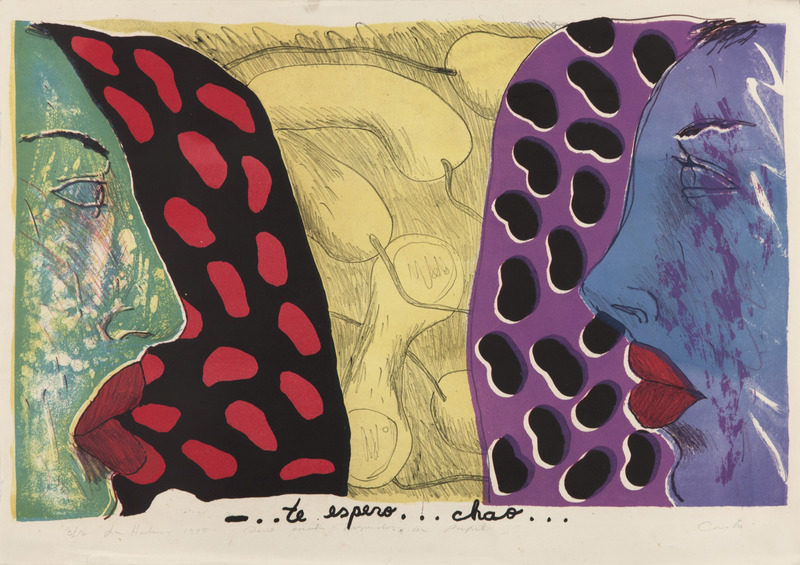- ...te espero...chao..., de la serie Cuatro segundos de papel (- ...I'm Waiting for You...Bye..., from the series Four Seconds of Paper), 1985. Lithograph on cardboard. 21 1/8 x 31 1/8 in.