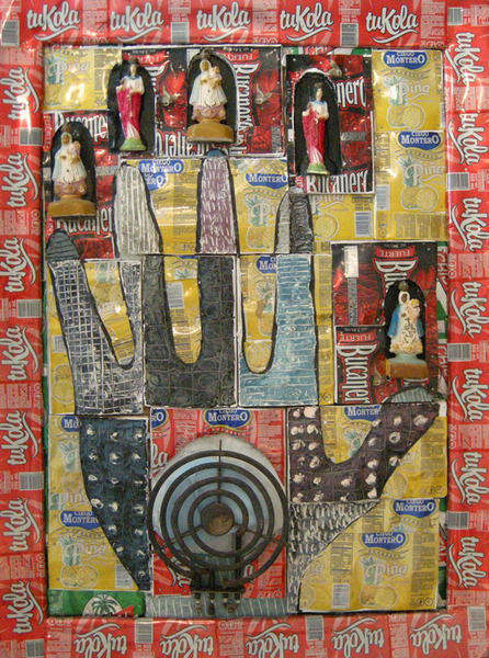La Mano Poderosa V (The Mighty Hand), 2008. Plaster figures, electric burner and acrylic on flattened aluminum cans, mounted on wood. 31 3/4 x 23 in.