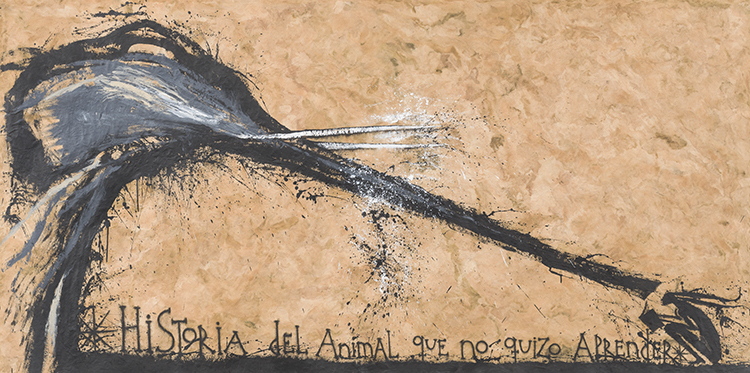 Historia del animal que no quizo aprender (Story of the Animal that Did Not Want to Learn), 2008. Mixed media on paper. 44 1/2 x 107 1/2 in.