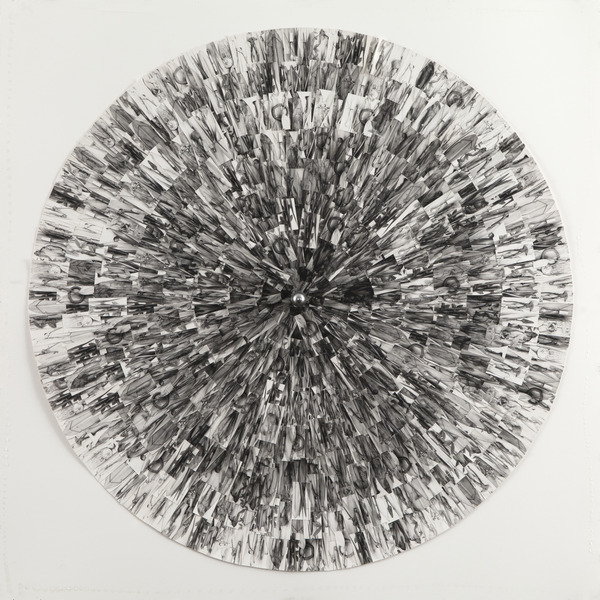 Untitled, 2013. Collage of silver gelatin prints and found object. 35 7/16 in. diameter