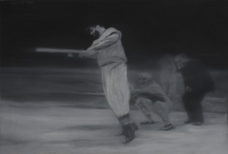 La muerte en pelota (Homenaje a Antonia Eiriz) (Dead by Baseball [Homage to Antonia Eiriz)], 2013. Silver and oil on canvas. 39 5/8 x 59 in.