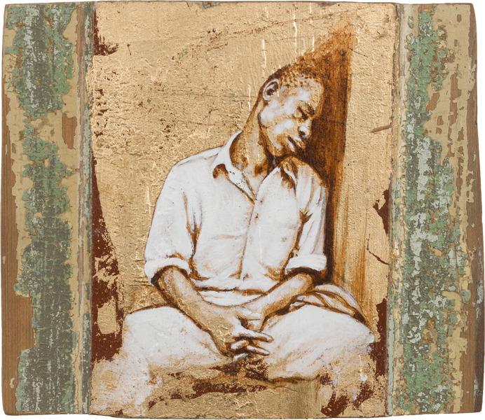 Negro dormido, de la serie Orbis. Tributo a Walker Evans (Black Asleep, from the series Orbis. Tribute to Walker Evans), 2009. Acrylic and gold leaf on wood. 6 5/8 x 8 x 1 1/4 in.