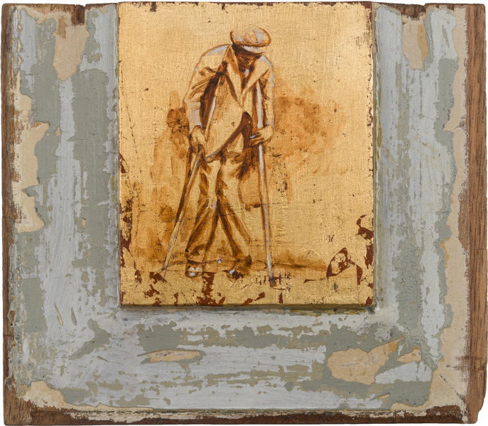 Sin título, de la serie Orbis. Tributo a Walker Evans (Untitled, from the series Orbis. Tribute to Walker Evans), 2009. Acrylic and gold leaf on wood. 8 1/8 x 9 1/4 x 1 1/4 in.