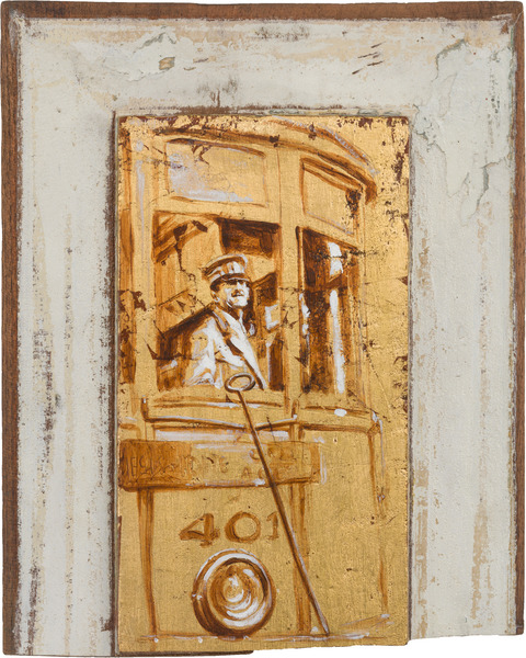 Sin título, de la serie Orbis. Tributo a Walker Evans (Untitled, from the series Orbis. Tribute to Walker Evans), 2009. Acrylic and gold leaf on wood. 11 3/4 x 9 1/2 x 1 1/4 in.