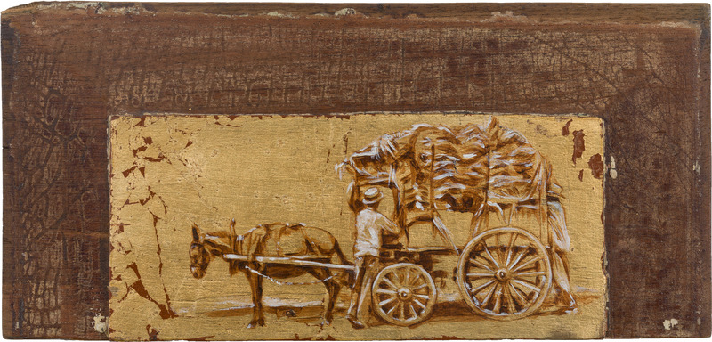 Sin título, de la serie Orbis. Tributo a Walker Evans (Untitled, from the series Orbis. Tribute to Walker Evans), 2009. Acrylic and gold leaf on wood. 6 3/4 x 14 1/2 x 1 in.