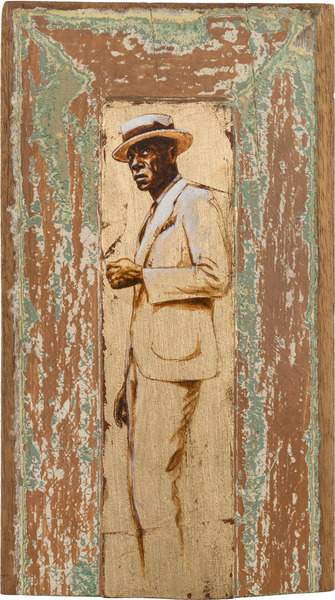 Negro, de la serie Orbis. Tributo a Walker Evans (Black, from the series Orbis. Tribute to Walker Evans), 2009. Acrylic and gold leaf on wood. 12 3/4 x 7 1/4 x 1 1/4 in.