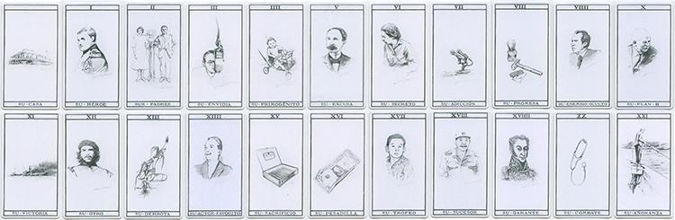 Perfil (Profile), 2007-2014. Digital print on card stock. Twenty-two tarot cards of 4 1/4 x 2 3/8 in. each