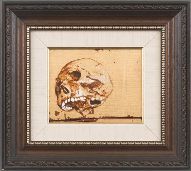 Vanitas (Calavera del Che) [Vanitas (Skull of Che)], 2009. Acrylic and gold leaf on wood. 14 1/4 x 15 3/4 in.
