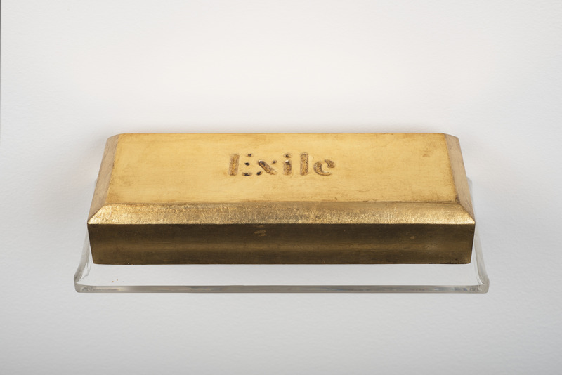 Exile, 2012. Wood laminated with gold leaf. 1 1/2 x 8 x 3 in.