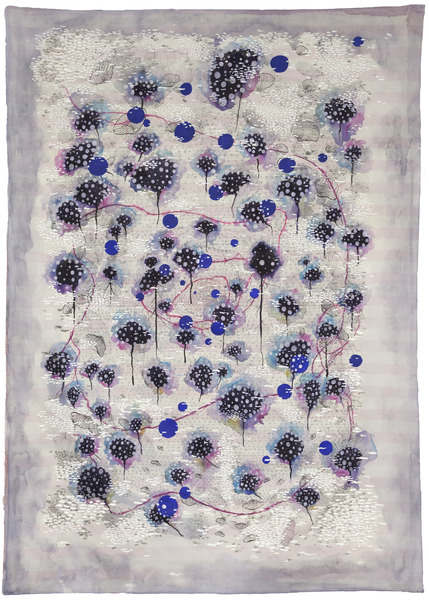 Aguas Malas (Bad Waters), 2014. Oil, acrylic, enamel, India ink, charcoal, metallic ink and polyester polyamide on polyester fabric. 66 x 47 in.