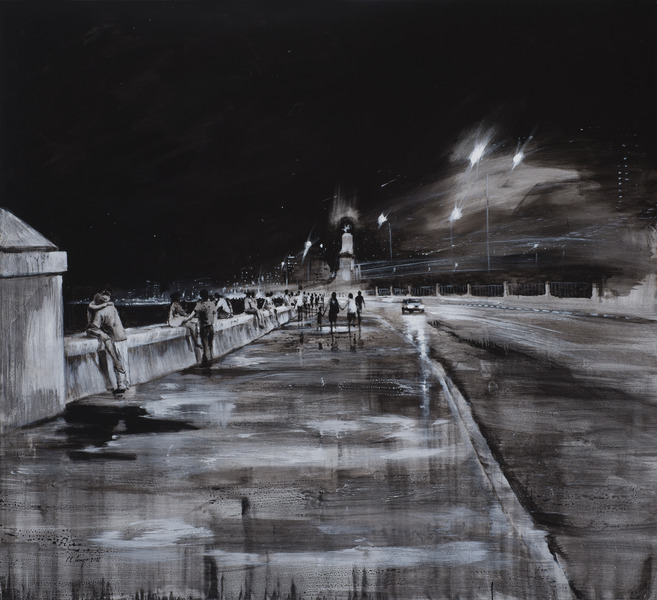 Sin título, de la serie Malecón (Untitled, from the series Malecon), 2012. Acrylic on canvas. 71 x 77 3/4 in.