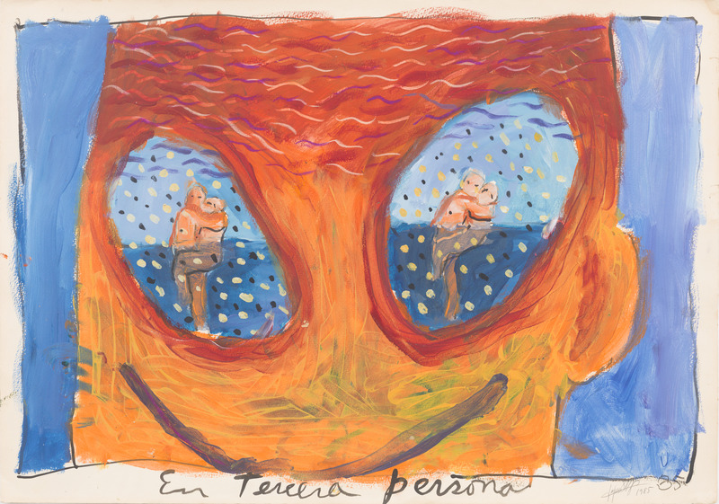 En tercera persona (In Third Person), 1985. Acrylic and pastel on paper. 20 1/4 x 28 7/8 in.
