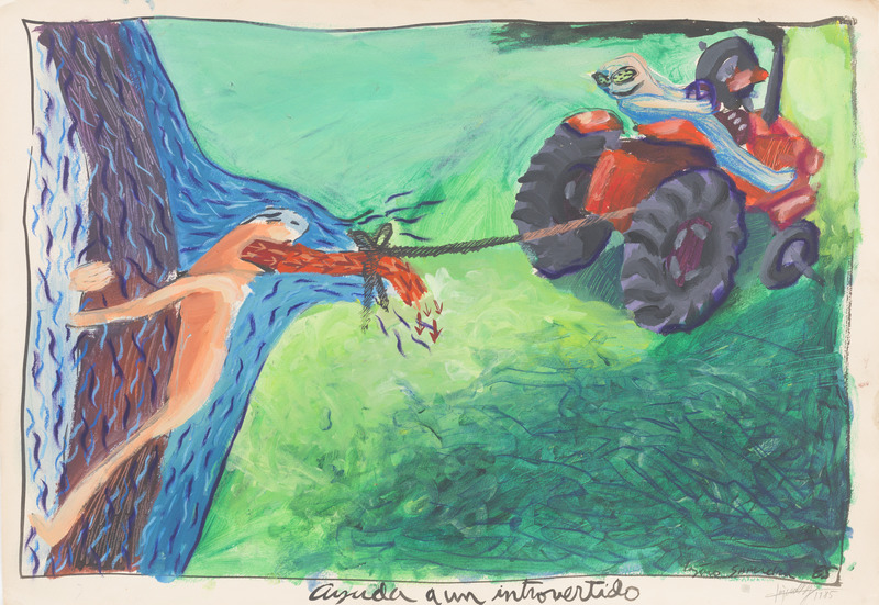 Ayuda a un introvertido (Helping an Introverted), 1985. Acrylic and pastel on paper. 19 7/8 x 28 7/8 in.