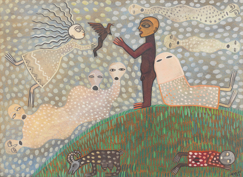 Afefe, 1984. Tempera on heavy paper. 13 1/2 x 18 3/4 in.
