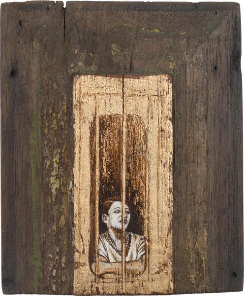 M.V., de la serie Orbis. Tributo a Walker Evans (M.V., from the series Orbis. Tribute to Walker Evans), 2009. Acrylic and gold leaf on wood. 8 3/4 x 7 1/2 x 1 1/4 in.
