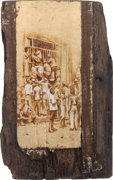 De la serie Orbis. Tributo a Walker Evans (From the series Orbis. Tribute to Walker Evans), 2009. Acrylic and gold leaf on wood. 12 1/2 x 8 x 1 in.