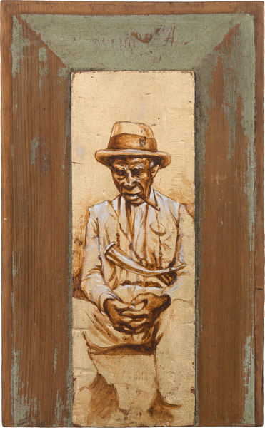 Veterano, de la serie Orbis. Tributo a Walker Evans (Veteran, from the series Orbis. Tribute to Walker Evans), 2009. Acrylic and gold leaf on wood. 14 1/4 x 9 x 1 in.