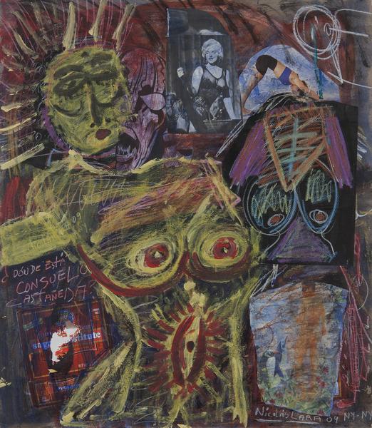 ¿Dónde está Consuelo Castañeda? (Where is Consuelo Castañeda?), 2009. Mixed media on cardboard. 29 x 25 in.