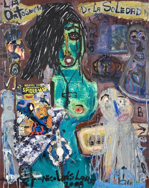 La ortografía de la soledad (The Orthography of the Solitude), 2008. Mixed media on wood. 36 1/2 x 28 3/4 in.