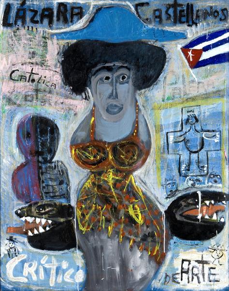 Lázara Castellanos, crítico de arte (Lazara Castellanos, Art Critic), 2004. Oil on canvas. 48 x 37 in.