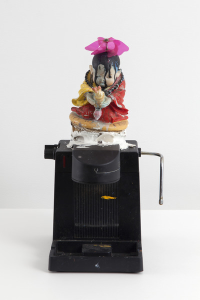 Untitled, n.d. Expresso maker, paint, doll, found objects. 17 x 9 x 10 in.