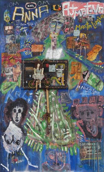 Anna Ajmatova, 2011. Mixed media on wood. 78 3/4 x 48 x 1/2 in.