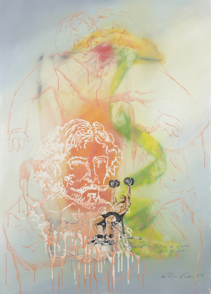Powered By Rubens In A World Full Of Shit, 2004. Resin, pastel and watercolor on paper. 39 x 27 in.