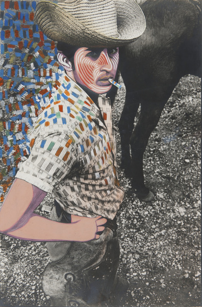 El vaquero (Cowboy), ca. 1969. Black and white photograph, hand-painted with acrylic. 14 x 9 1/2 in.
