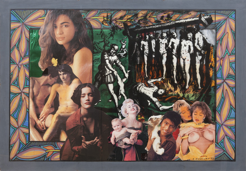Sin título, de la serie iOh América! (Untitled, from the series Oh America!), 1992. Acrylic, pastel, acetate, colored cellophane and cut-and-pasted printed paper on cardboard. 27 x 39 in.
