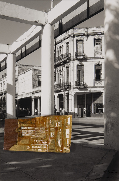 Galiano y Barcelona, de la serie Peregrinaje (Galiano and Barcelona, from the series Pilgrimage), 2009. Acrylic and gold leaf on wood, black-and-white photograph. 29 x 19 1/2 x 1 1/2 in.