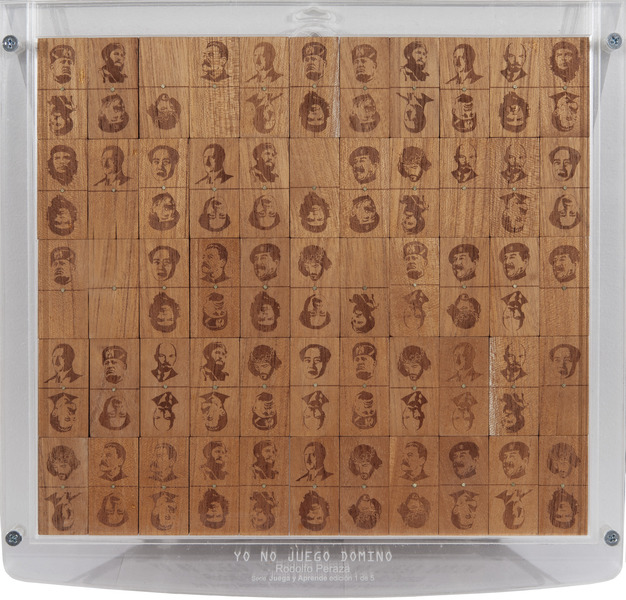 Yo no juego Dominó, de la serie Juega y aprende (I Don't Play Domino, from the series Play and Learn), 2009. Laser on wood, plexiglass 14 1/4 x 13 3/4 x 1 1/4 in. Ed. 1/5