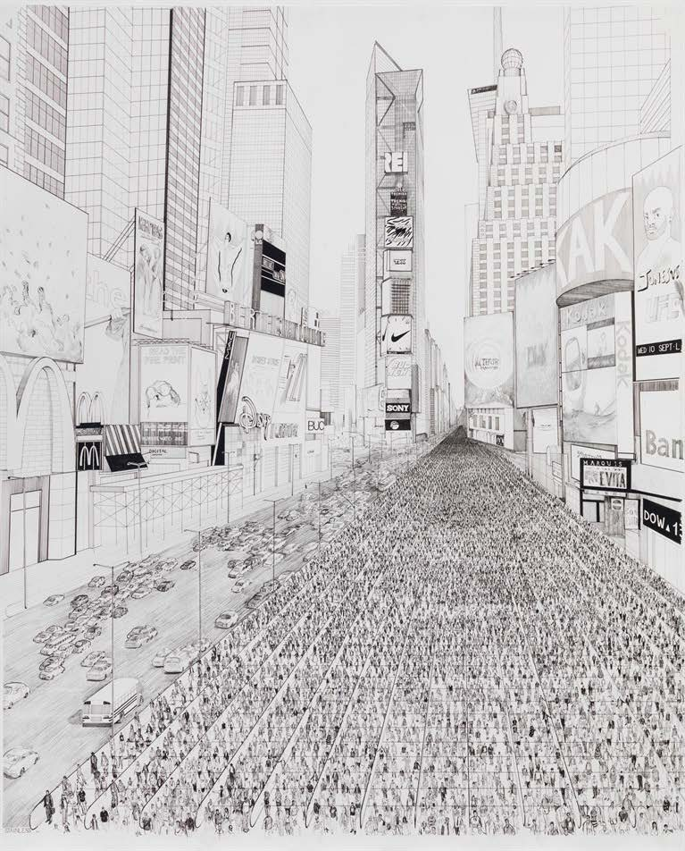 One of a Kind [Times Square], 2014. Ink and pencil on paper. Paper: 57 x 50 1/4 in. Frame: 61 x 54 1/4 x 2 1/8 in.