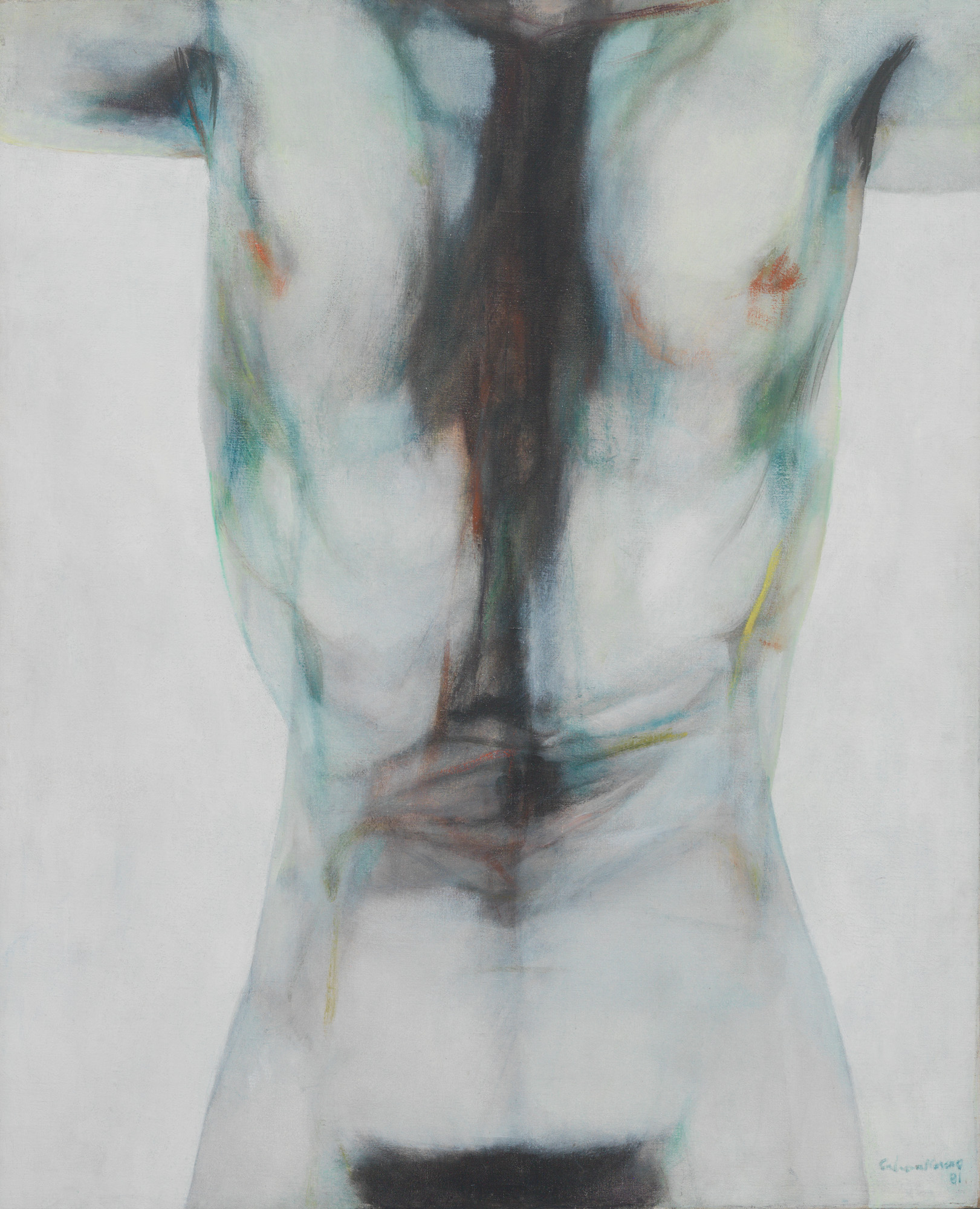 Bandera blanca para un desnudo (White Flag for a Nude  Object), 1981. Oil on canvas. Framed: 51 1/4 x 32 1/4 x 3 in.