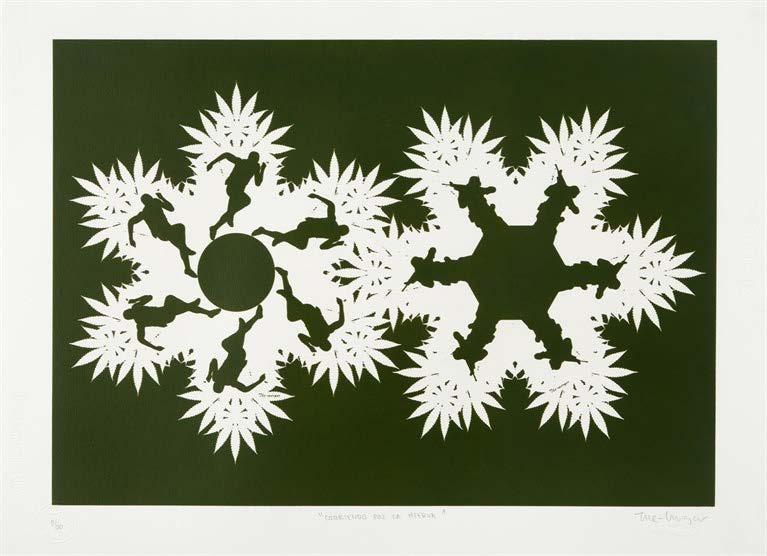 Corriendo por la hierba, del Portafolio No. 1 (Running on Weed, from the Portfolio No. 1), 2013-2014. Silkscreen on Fabriano paper. Paper: 19 3/4 x 27 3/4 in.
