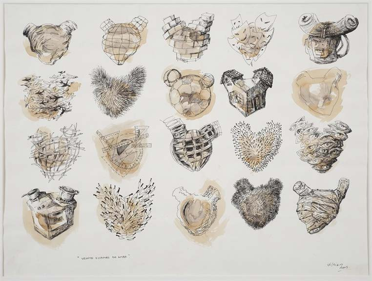 Veinte formas de amar (Twenty Ways to Love), 2005. Ink, pencil, watercolor on paper. Paper: 19 5/8 x 25 1/2 in. Framed: 25 1/2 x 31 1/2 in.