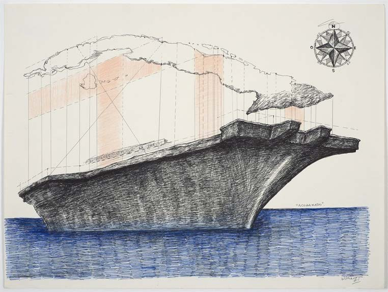 Acorazado (Battleship), 2011. Colored pencil and pen on paper. Paper: 18 x 24 in.