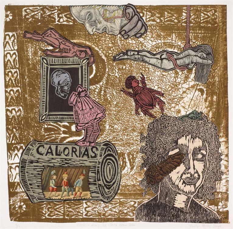 La Última Cena, de la serie Calorías (The Last Supper, from the series Calories), 2006. Monotype. Object: 18 1/2 x 19 1/2 in. Framed: 24 1/4 x 23 1/4 in.
