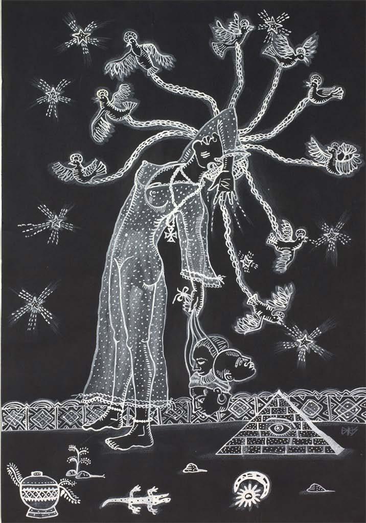 Obbatalá, 2003. Tempera on paper. Image: 19 1/2 x 13 3/4 in. Framed: 24 1/2 x 18 1/2 in.