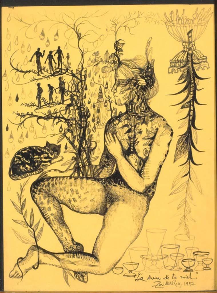 La dueña de la miel (The Mistress of Honey), 1997. Ink on paper. Framed: 20 1/2 x 16 1/2 in. Object: 15 3/4 x 11 3/4 in.