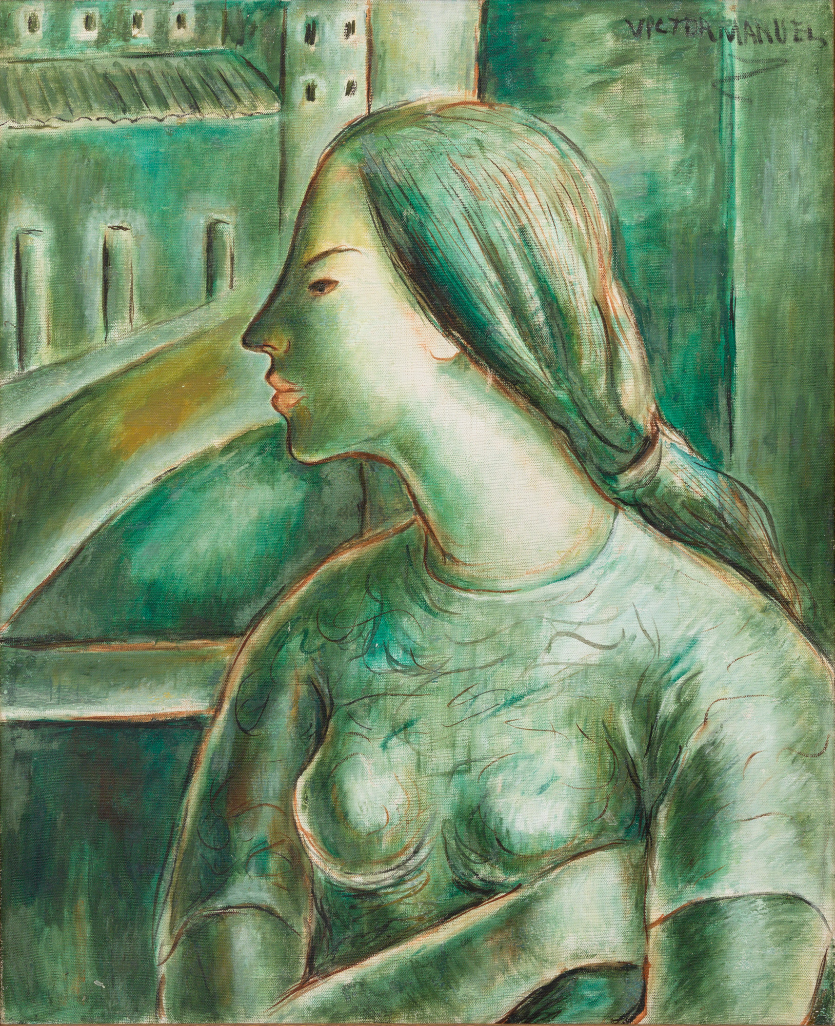 Muchacha en verde (Young Lady in Green), 1958. Oil on linen. Framed: 36 1/2 x 32 x 2 in.