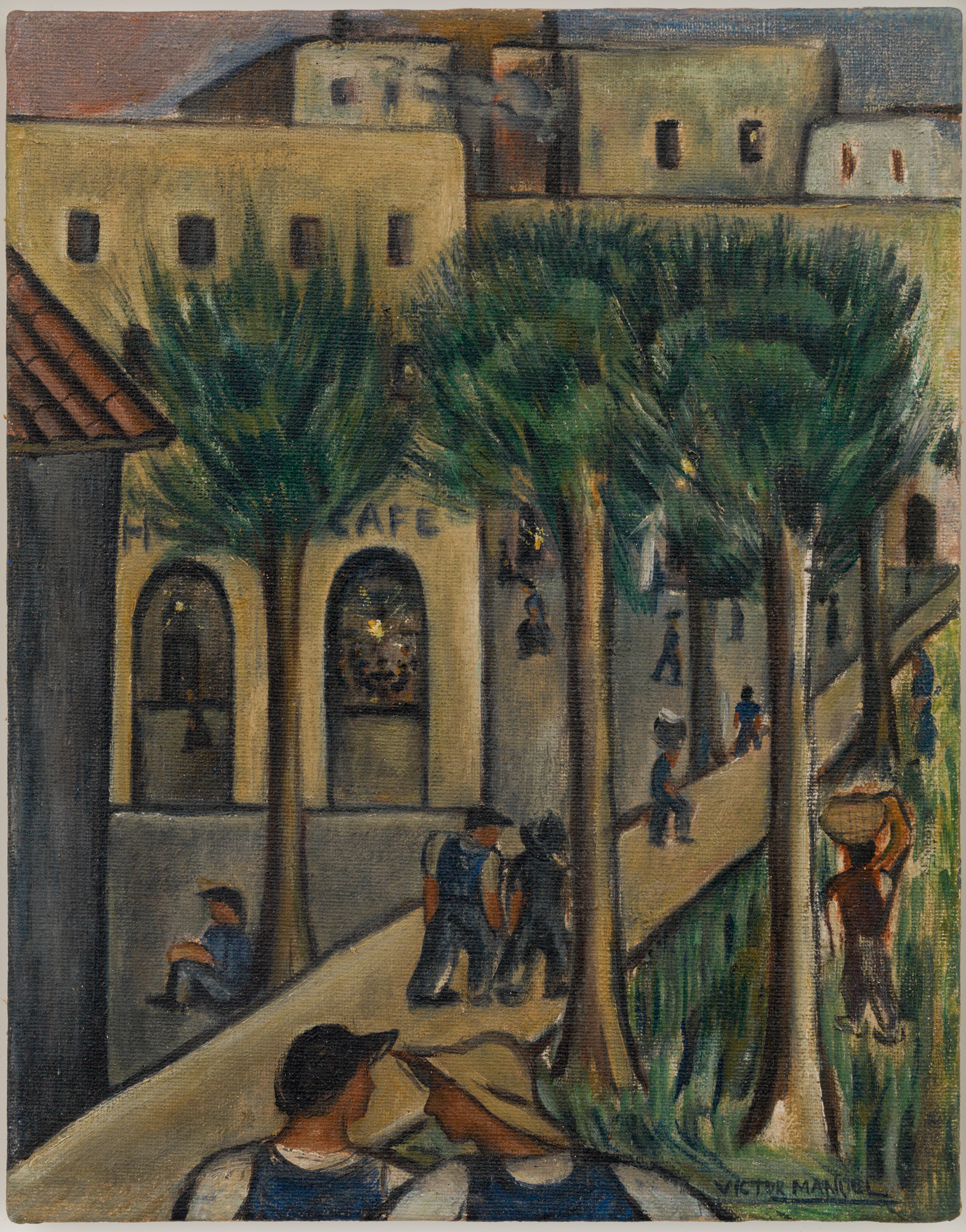 Camino al Café (The Way to the Coffee Shop), ca. 1930. Oil on canvas. Frame: 26 1/2 x 23 1/2 x 2 in.