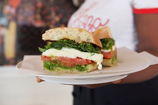 Afternoon delights with our delicious mozzarella, tomato & pesto sandwich #sagpizza #sagharbor #sandwich #hamptonsstyle #hamptons #pizzapizza