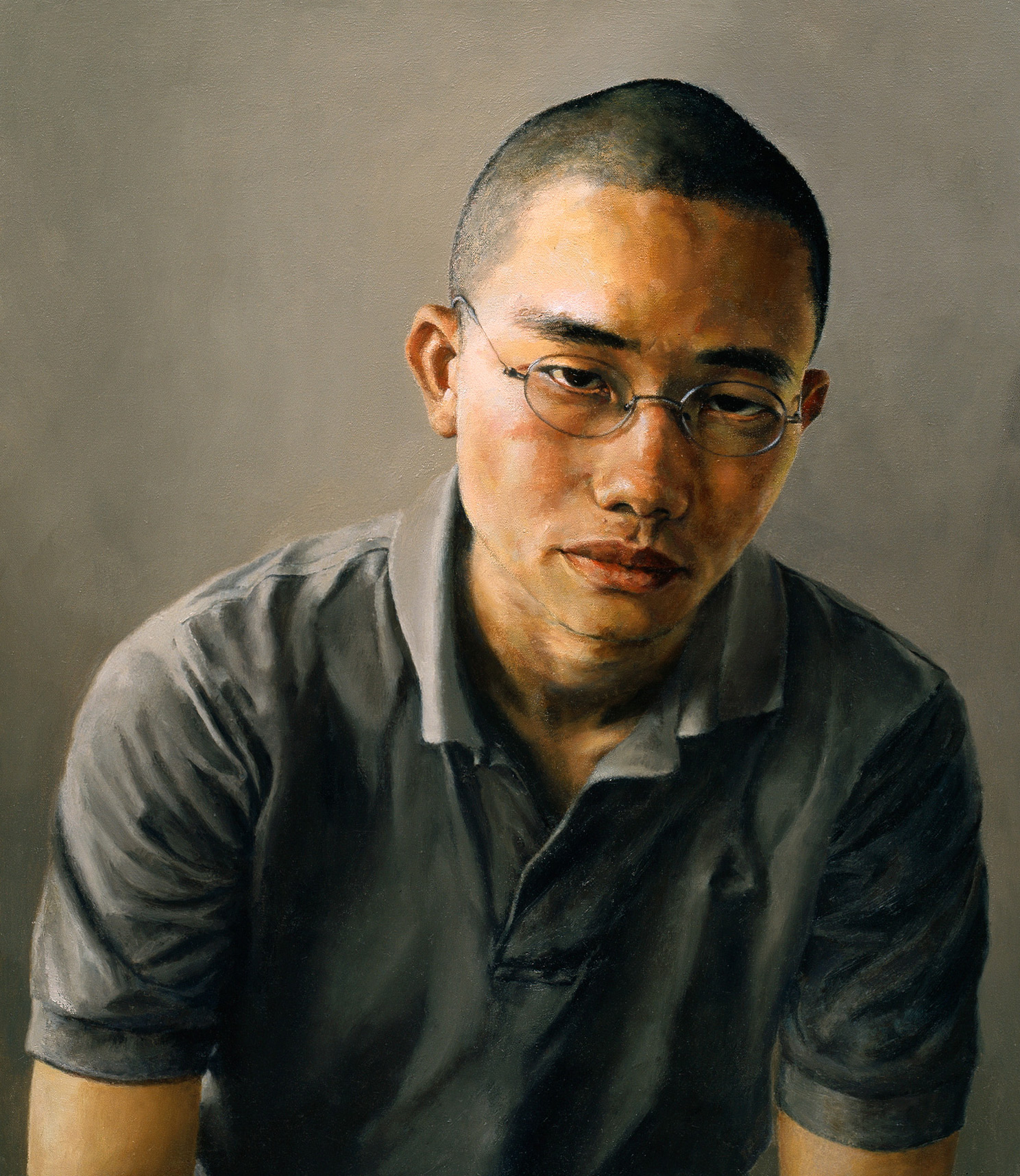 "Reuben, You Have My Ear: Portrait of Reuben Liew Yoon Sing , Oil on Canvas, 2001, 24"" x 21"""