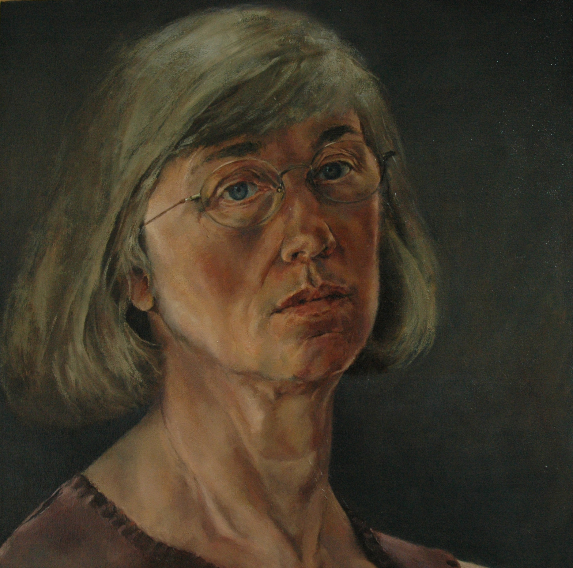 "Self Portrait with Eyefolds , Oil on Canvas, 2001, 18.25"" x 18"""