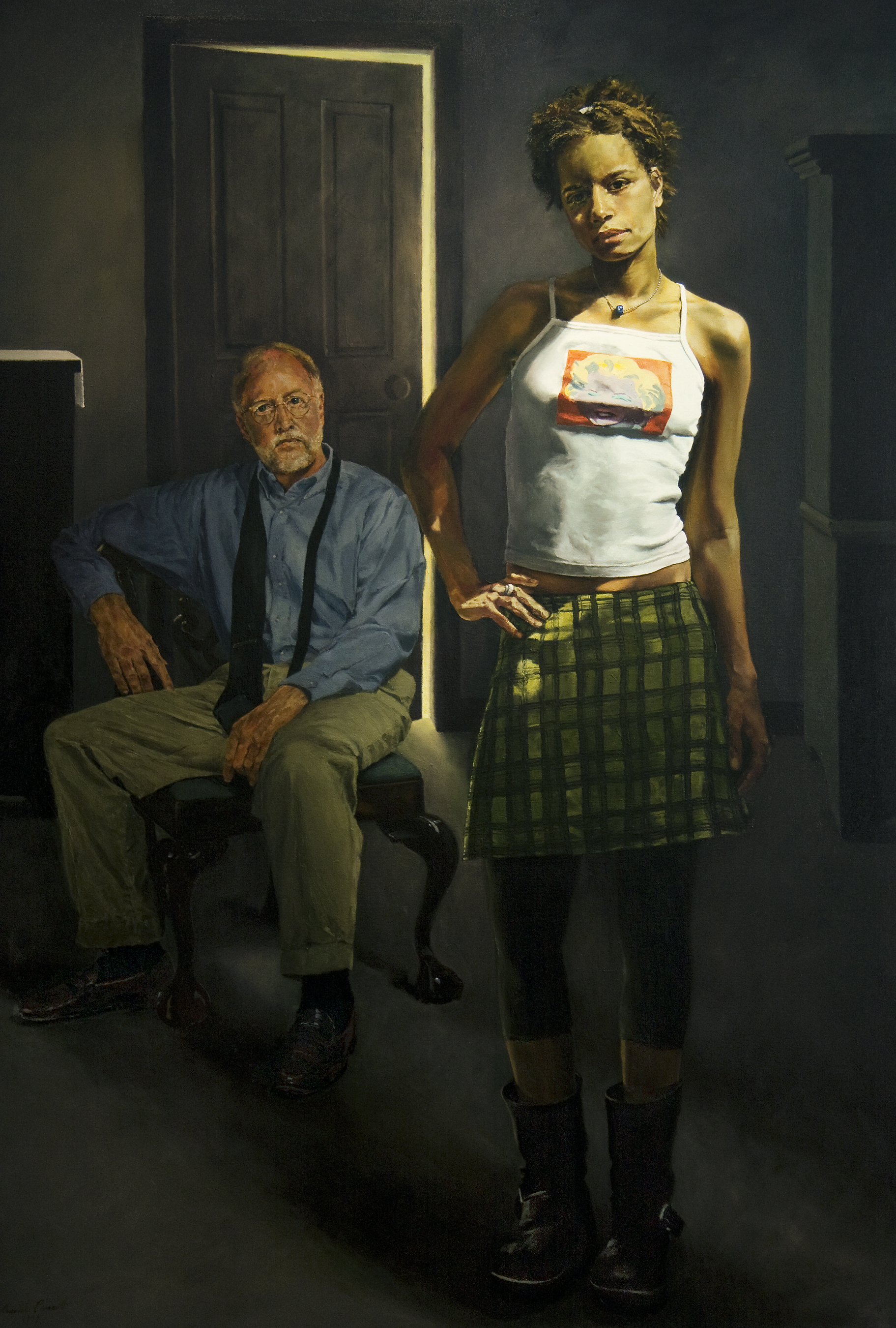 "Anna With Her Father, Jake , Oil on Canvas, 1999, 72""x52"""