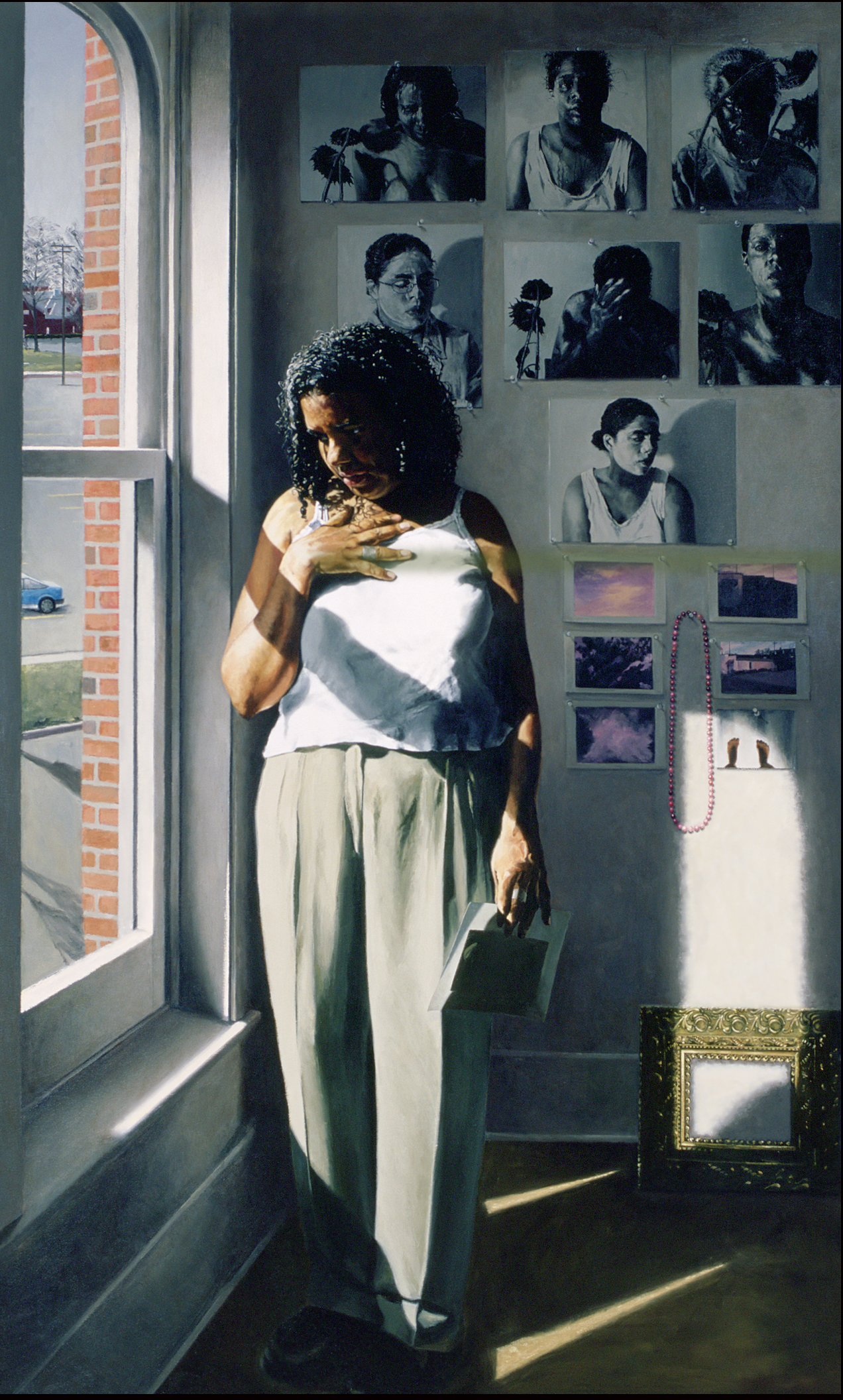 "Lara Scott with Seven Self-Portraits: Long Have I Sought Thee  Oil on Canvas, 2001, 88"" x 54"""