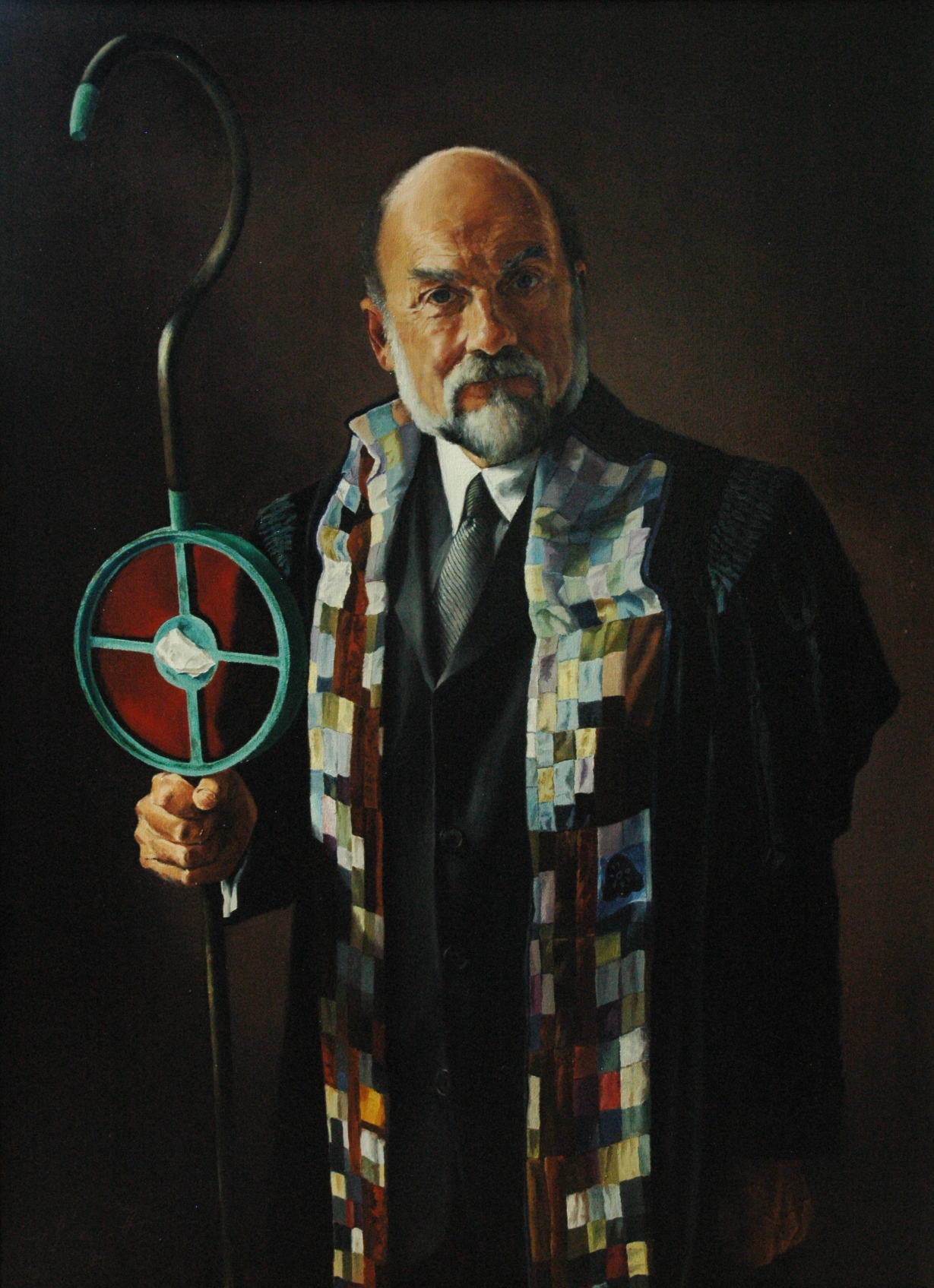 "Dr. Rodney J. Sawatsky , Oil on Canvas, 2004, 38"" x 28""  Collection, Messiah College, Grantham, PA"