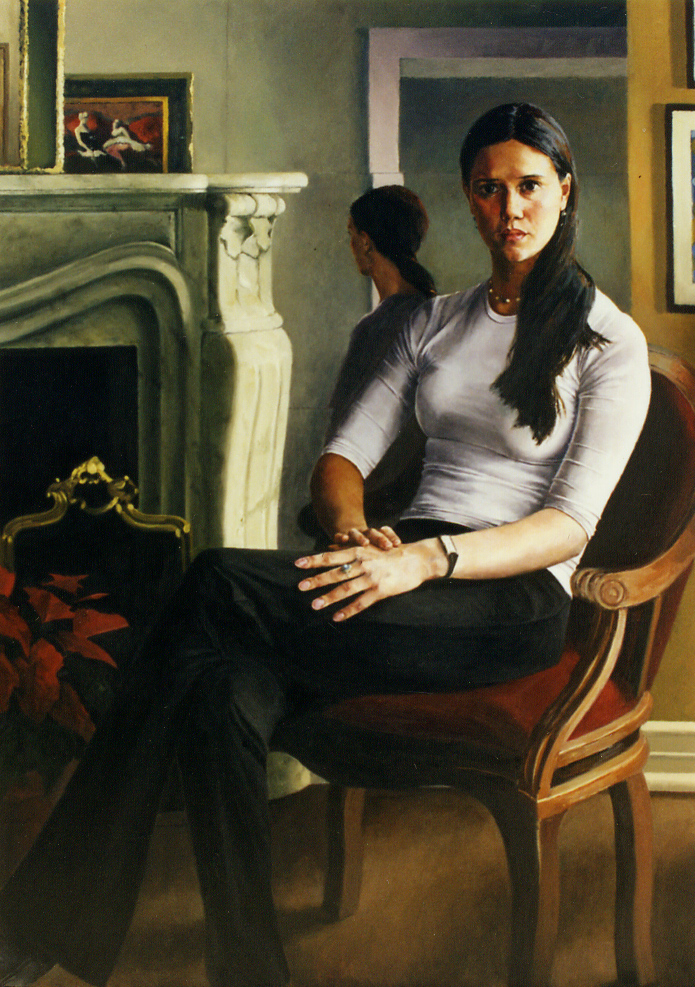 "Jennifer Jones , Oil on Canvas, 2000, 60"" x 42""  Private Collection"