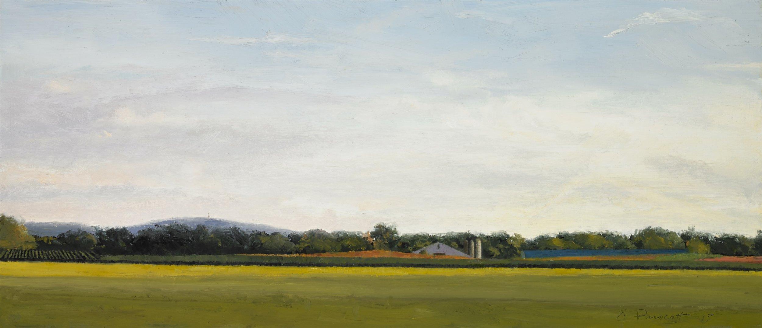 "Pennsylvania Twilight , Oil on Wood Panel, 2013, 9"" x 21"""