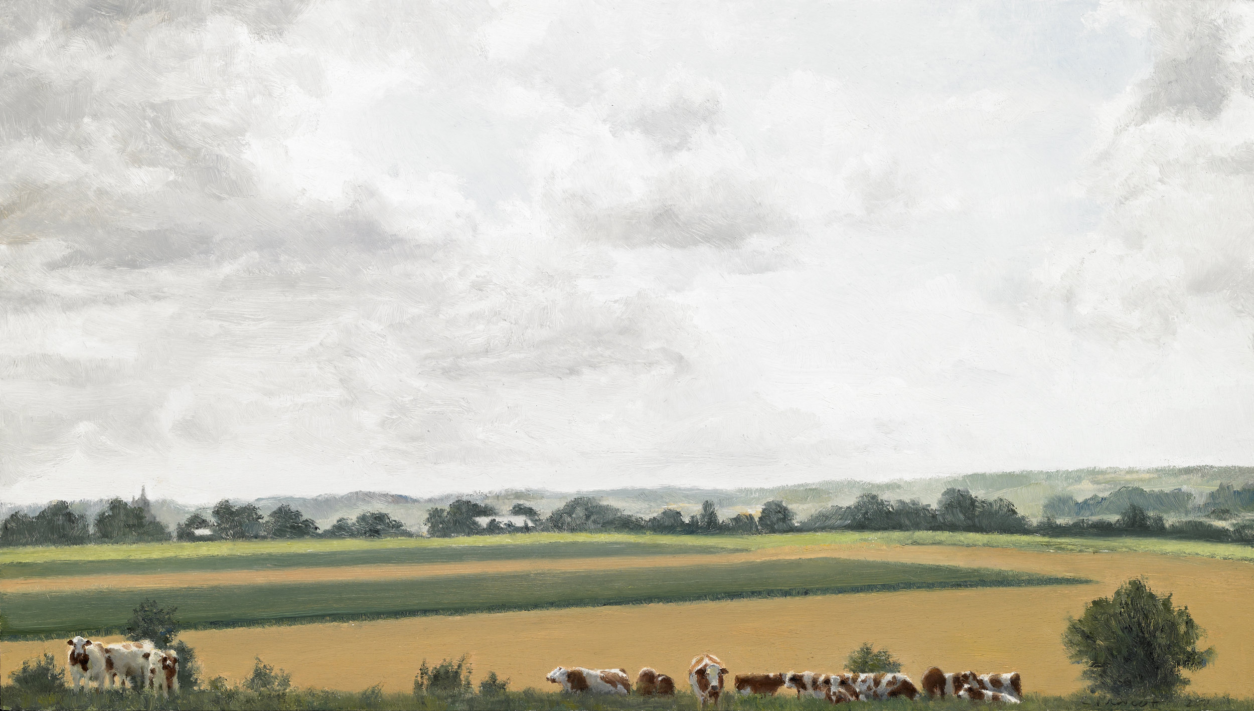 """Cows at Home, Bonning, France II , Oil on Wood Panel, 2011, 8"""" x 14""""  Private Collection"""